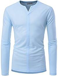 Mens Long Sleeve Unique Neck Slim Fit Casual Comfy T-Shirts