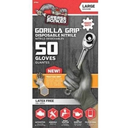 Grease Monkey Gorilla Grip Nitrile Disposable Glove, 50-Count by Grease Monkey