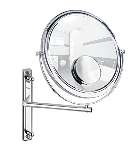 Black Swivel Mirror (WENKO 3656370100 Wall-mounted cosmectic mirror Bivona - with swivelling arm, mirror surface diam. 10 inch, 3/7 x  magnification, Steel, 11.8 x 13.4 x 8.9 inch, Chrome)