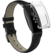 UMTELE Compatible for Fitbit Inspire HR Leather Bands with Clear TPU Full Cover Screen Protective Case Repacement Bands for Fitbit Inspire & Inspire HR