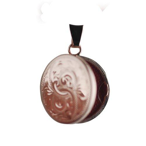 Medaillon 20mm rond et plat en or rose 375/1000 gravée à la main