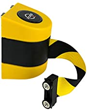 """Q-Boss"" Magnetic Retractable Barrier - 15' Black/Yellow Chevron Belt"