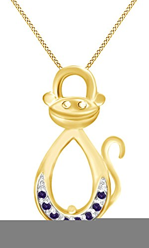 AFFY Simulated Alexandrite Infinity Monkey Pendant Necklace in 14K Yellow Gold Over Sterling Silver ()