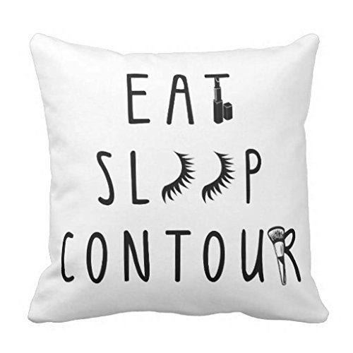 Unique Throw Pillow Cover Home Decor Trendy Eat Sleep Contour Classy Pillow Case with Zipper Square Couch Cushion Cover 18 x 18