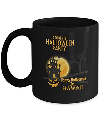 Cool halloween, party gifts mug - Happy Halloween In Hawaii - Novelty gift For For Best Friend On Halloween Day - Black 11oz percet size holder]()