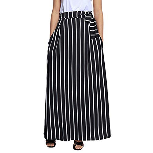 DEATU Womens Skirt Ladies Casual Chiffon Classic Striped Ankle-Length Empire Lace-Up Vintage Long Skirt(Black ,L)