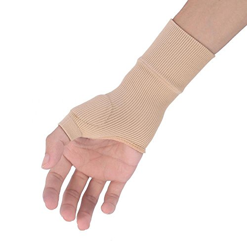 (1 Pair Beige Wrist Hand Support Gloves Thumb Hand Wrist Support Strap Glove Elastic Brace Sleeve Sports Bandage Wrap Pain Relief)