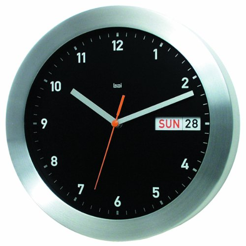 Bai Brushed Aluminum Wall Clock with Automatic Day & Date, Black