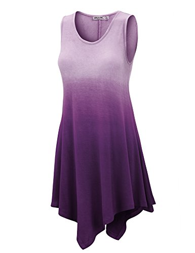 WT1053 Womens Round Neck Ombre Sleeveless Tunic Tank Top L Purple -