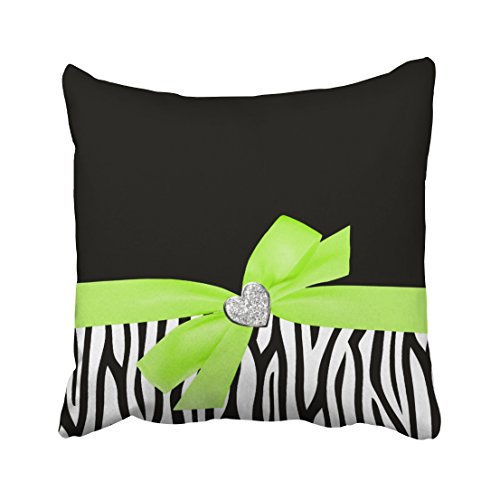 Decorativepillows 20 x 20 inch Throw Pillow Covers,Zebra Lime Green Bow Diamond Heart Pattern Double-Sided Decorative Home Decor Indoor/Outdoor Garden Sofa Bedroom Car Kitchen Nice Gift