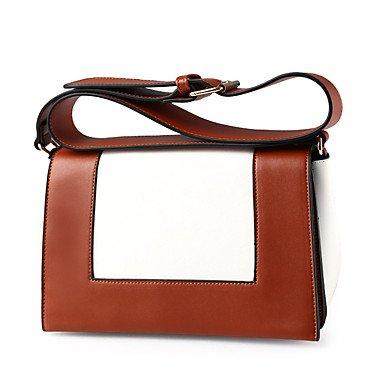 Las mujeres de moda de cuero pu Messenger bolsas de hombro, negro Brown