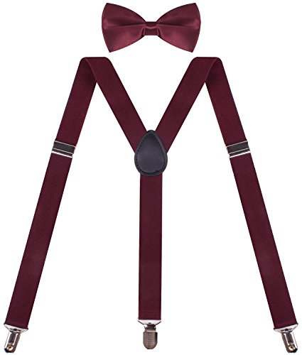 Wine Colored Suspenders for Men and Pre Tied Bowtie Set Mens Braces for Trousers