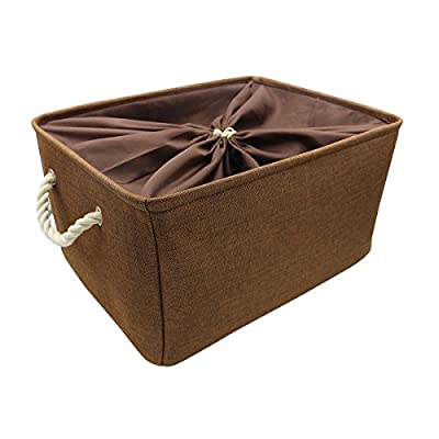 Kernorv Large Storage Basket Storage Bins with Rope Handles, Storage Basket for Shelves Toys Home Office Closet 20.5x15.7x13.8 inch - Material: Natural linen exterior, cotton fabric inner Sturdy Thick Handles: This storage bin has a sturdy and stabilized base with two thick rope handles for easy slide in and pull out of shelves or cabinet Easy to Fold: Fold up the bins and carry the storage bin container in your truck , car, closet or living room - living-room-decor, living-room, baskets-storage - 41d 7JLgSpL. SS400  -