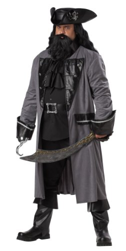 [California Costumes Plus-Size Blackbeard The Pirate Coat, Grey/Black, One Size Costume] (Plus Size Adult Halloween Costumes Ideas)