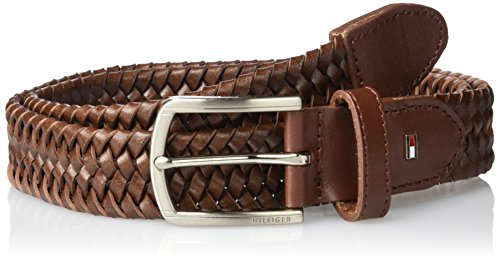 Tommy Hilfiger Leather Braided Belt - Casual for Mens Jeans with Solid Strap Single Prong Buckle, Tan - Stretch , 36