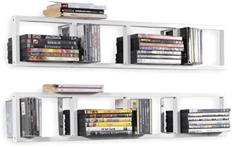 BHG You-Have-Space Wall Mount 34 Inch Media Storage Rack CD DVD Organizer Metal Floating Shelf Set of 2 White