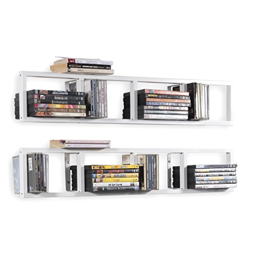 Wall Mount 34 Inch Media Storage Rack CD DVD Organizer Metal Floating Shelf Set of 2 White by BHG