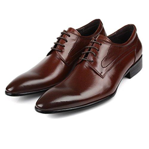 GRRONG Zapatos De Cuero De Los Hombres De Cuero Genuino Acentuadas Aumentar La Vestimenta Formal Brown