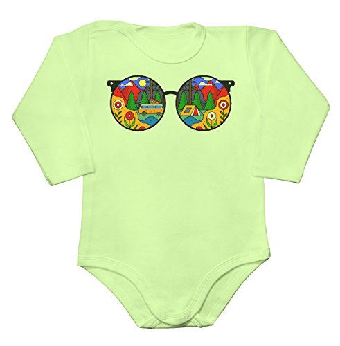 Cool Hippie Sunglasses Reflecting Nature Baby Long Sleeve Romper Bodysuit - Glasses Reflecting