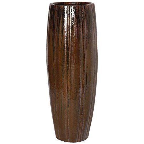 Tall Ridge Ceramic Planter - Brown by Emissary