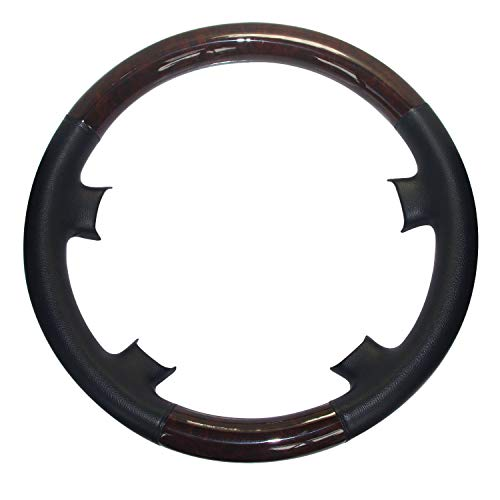 Pursuestar Black Leather Brown Wood Steering Wheel for sale  Delivered anywhere in USA