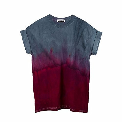 Red Dip Dye Unisex T-Shirt Tie dye Pattern Shirt short Sleeve Plus Size S, M, L, XL, XXL, XXXL -