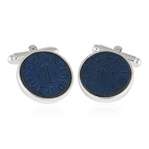 Cuff-Daddy OPA Blue Point WWII Ration Cufflinks Plated with Sterling Silver with Presentation Box by Cuff-Daddy