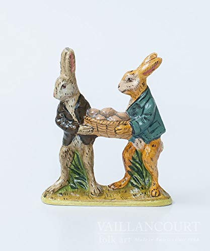 Vaillancourt Folk Art Two Rabbits Carrying Egg Basket