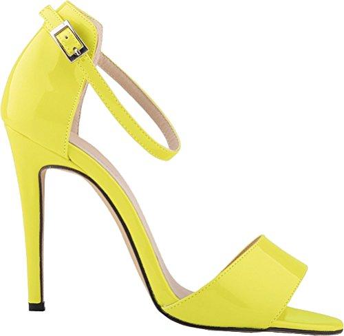 Salabobo 102-2QP Ladies Simple OL Bride Bridesmaid Party Wedding Job Nightclub Open Toe Heeled Ankle Straps PU Sandals Fluorescent Yellow f9CMcV