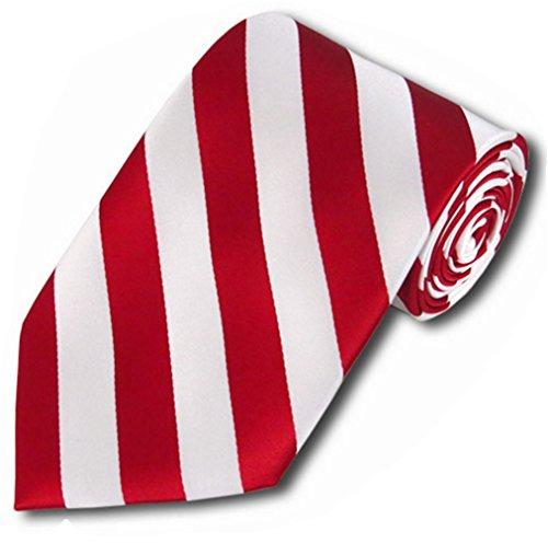 Collegiate Tie (Vincent Apparel Collegiate Stripe Ties (Multiple Colors) (Red and White))