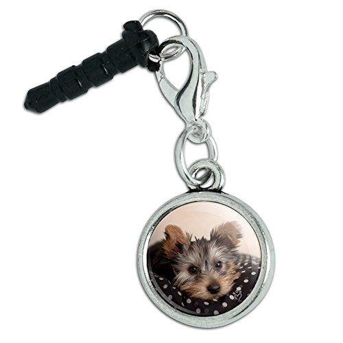 Yorkie Yorshire Terrier Puppy Dog on a Spotted Cushion Mobile Cell Phone Headphone Jack Anti-Dust Charm fits iPhone iPod Galaxy