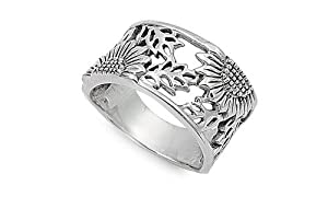 Sterling Silver Woman's Sunflower Ring Flower 925 Wide Band 14mm Sizes 5-10
