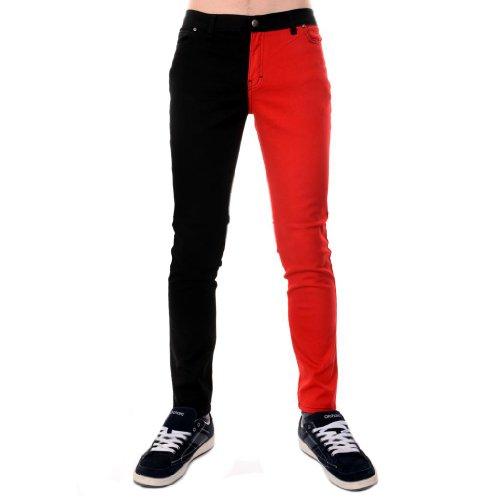 Herren Röhrenjeans Jeans Rot & Schwarz Geschlitztes Bein