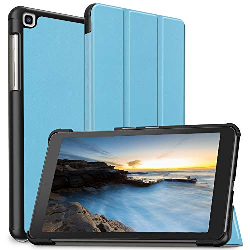 PULEN for Samsung Galaxy Tab A 2019 8.0 Inch Case (SM-T290/SM-T295 Model New),[Anti Slip][Shock-Absorption] Lightweight Slim Trifold Stand Protective Cover for Galaxy Tab A 8 2019 Tablet (Sky Blue) (Best Light Stand 2019)