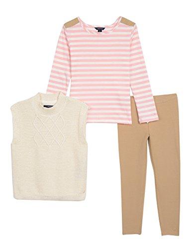 Lurex Stripe Sweater - Nautica Toddler Girls Lurex Sweater Vest, Knit Top & Jegging, cream, 4T