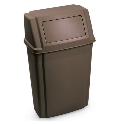 Rubbermaid Commercial FG782200BRN Slim Jim Wall-Mounted Trash Can, 15-Gallon Capacity, Brown (Wall Mounted Garbage Can compare prices)