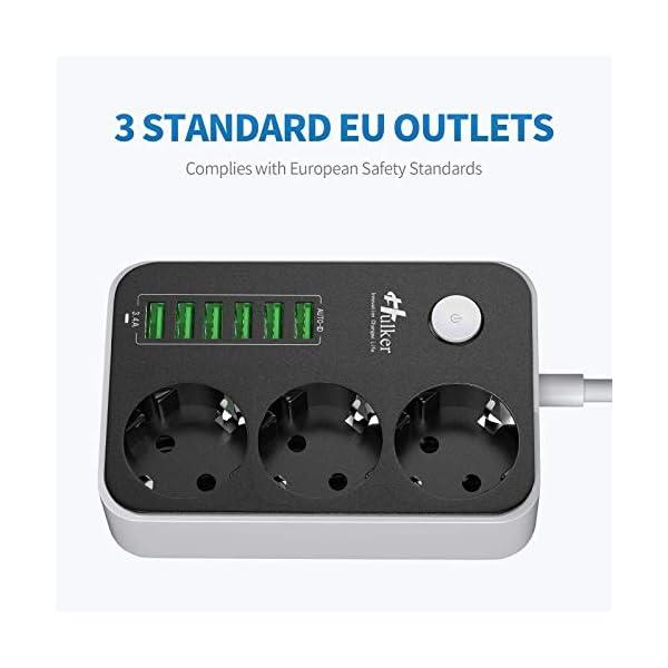41d A2NTqUL Mehrfachsteckdose HULKER Steckdosenadapter 3 fach/Steckdosen 6 USB -Anschlüsse, Steckdosenleiste mit überspannungsschutz…