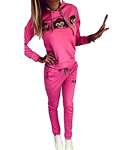 Mujer 2Pcs Chándal Conjuntos Deportivos Impresión Manga Larga Sweatshirt Sudadera Pantalones Rose