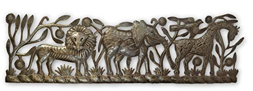 New Jungle Panel, Giraffe, Lion and Elephant, Haiti, Metal Wall Art Decor, Indoor or Outdoor Decor Recycled Oil Drum 36 x 11 Inches