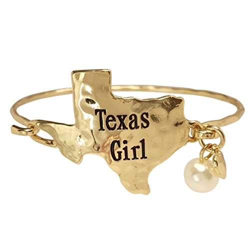 (Gypsy Jewels State Shape Map with Dangle Charm Hook Wire Bangle Bracelet (Texas Gold Tone))