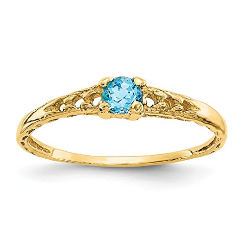 ICE CARATS 14kt Yellow Gold 3mm Blue Topaz Birthstone Baby Band Ring Size 3.00 December Fine Jewelry Ideal Gifts For Women Gift Set From (Babys 14kt Gold Birthstone Ring)