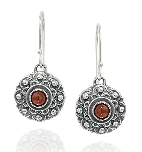 Antique Style Carnelian Gemstone Flower Dangle Earrings in 925 Sterling Silver Elegant Women's Jewelry