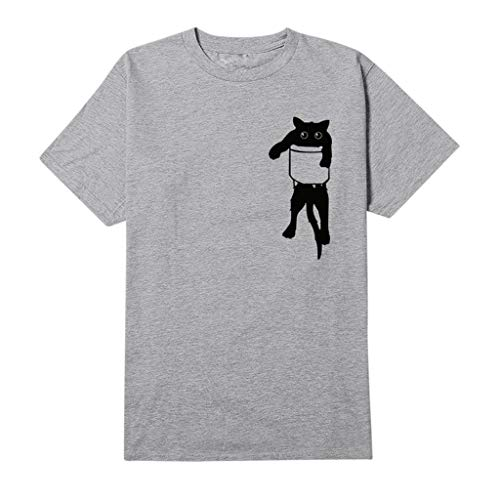 OrchidAmor Women 2019 Summer Spring Tops, Cat Print T-Shirt Loose Short Sleeve Blouse Casual Simple Pullover Tops Gray ()