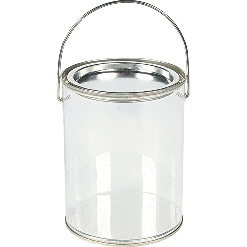 Plastic Clear Paint Can Container Craft Decorating Artist Buckets - Great for Party or Baby Shower (Plastic Favor Pail)