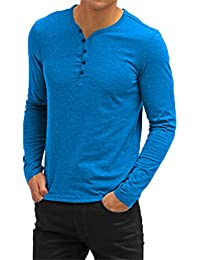 Mens Casual V-Neck Button Cuffs Cardigan Long Sleeve T-Shirts