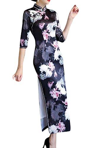 Coolred-femmes Découpées L'impression Surdimensionné Robe De Soirée Chinoise Qipao Pattern8