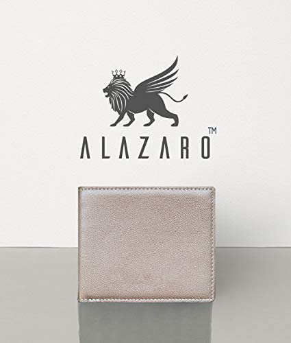 Alazaro Italia - Matteo (Moonstone Cream) Lux Calf Skin Pebble Grained Leather RFID Men and Women Bi-Fold Wallet - Luxury Premium Highly Durable Wallet Collection perfect for gift and personal - Italia Cream
