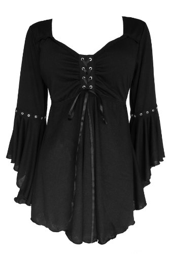 Dare to Wear Victorian Gothic Boho Women's Plus Size Ophelia Corset Top Black 2X