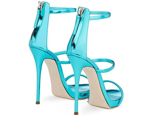Tacco 35 Roma GAOGENX spillo Dimensioni Scarpe EU43 Club verniciata Festa Vestito a cinghie donna a da Pelle da sandali 45 SFq8a