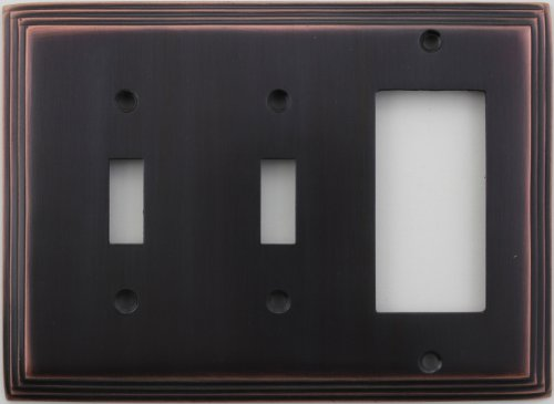 Classic Accents Deco Antique Copper Three Gang Wall Plate - Two Toggle Light Switch Openings One GFI/Rocker Opening